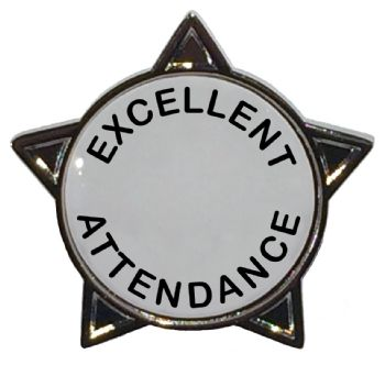 EXCELLENT ATTENDANCE titled star badge